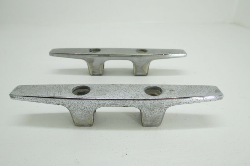 PAIR 6 INCH OLD CHROME SHIP BOAT DOCK CLEATS CHOCKS (#1142)