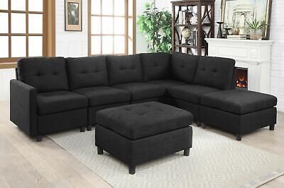 Contemporary 7pcs Sectional Modern Sofa Microsuede Reversible Chaise Ottoman USA ()