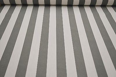 Markisenstoff grau-weiß gestreift 160cm breit Stoff für Markisen Meterware 300