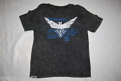 Mens S/S Tee Shirt STONEWASHED BLACK Rear Side UNITED KINGDOM BIRD Size M 38-40