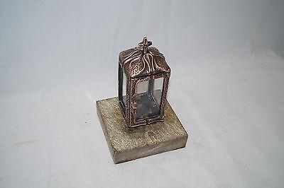 Grablampe, Grablaterne aus Bronze Filthaut mit Sockel