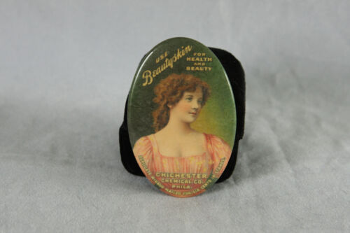 PHILADELPHIA CHICHESTER CHEMICAL CELLULOID ADVERTISING PORTRAIT POCKET MIRROR