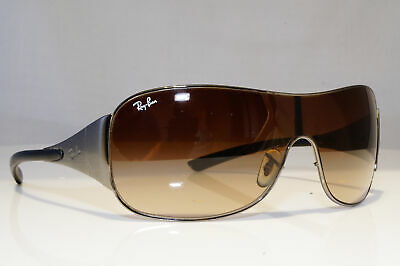 RAY-BAN *DAMAGED* Mens Vintage Sunglasses Silver Shield RB 3321 029/13 26022