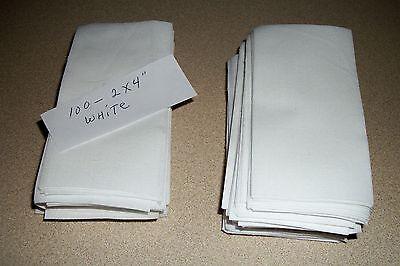 100 WHITE COTTON 2X4 INCH CRAFT & QUILT PIECES
