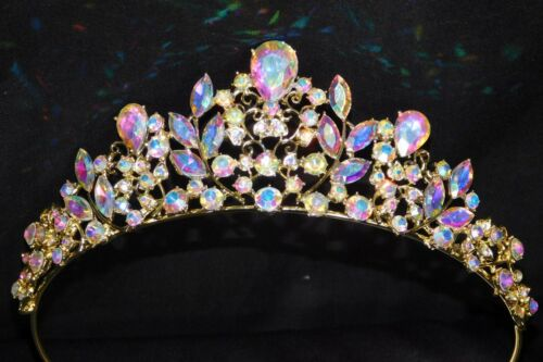 Gold AB Iridescent Rhinestone Crystal Queen Tiara Crown Bridal Pageant /1414