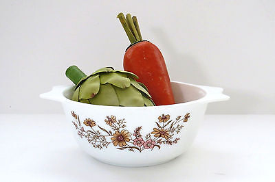 Vintage Pyrex Mixing Bowl Country Autumn Casserole Dish Retro Brown Cornflowers