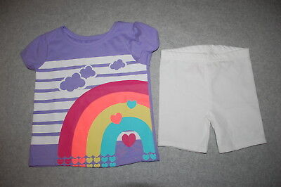(Toddler Girls Outfit PURPLE S/S TEE SHIRT Rainbow Clouds WHITE BIKE SHORTS Sz 2T)