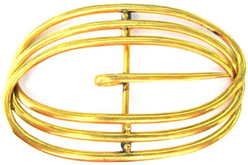 Designer Signed Huge Art Deco Golden Belt Buckle