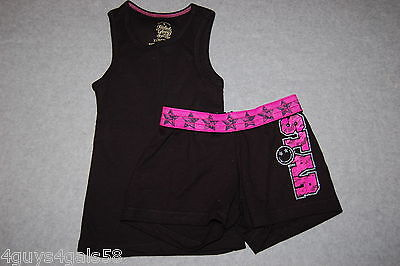 Hot Teen Outfits (Girls Outfit BLACK TANK TOP & SHORTS Hot Pink STAR Silver Glitter XS)