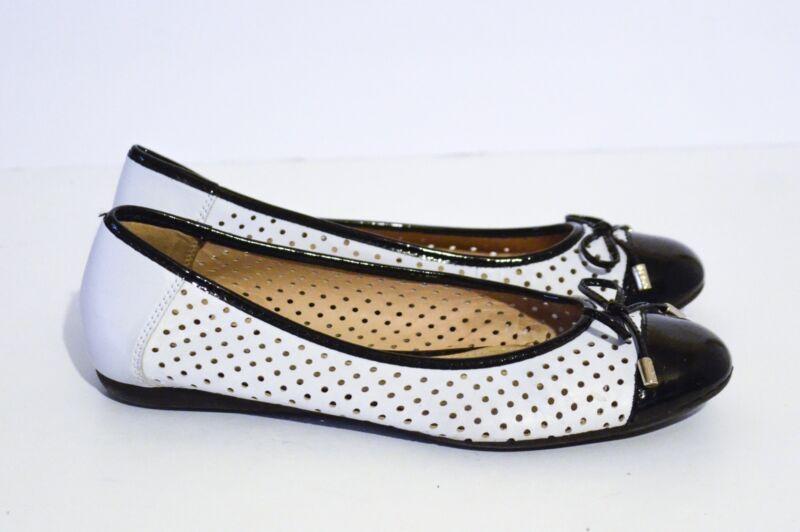 8682bead0caa Geox Women s D Lola White Black Ballet Flats Shoes Size 38