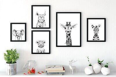 Nursery Prints Wall Art, Peekaboo Animals, Black & White (Baby Animal Prints)