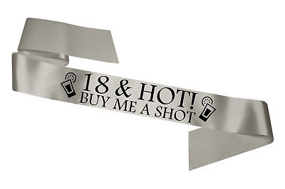 Silver 18 & Hot Birthday Sash Gift Present Legal Age Party Decoration Cheap - Cheap New Years Decorations