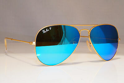 RAY-BAN Mens Polarized Mirror Sunglasses Blue Gold Aviator RB 3025 112/4L 24066