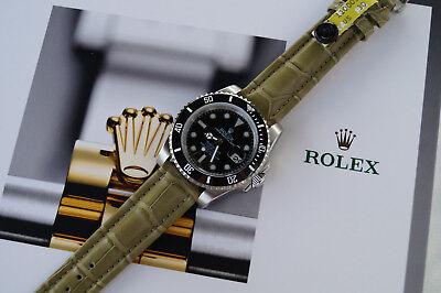 Genuine Alligator Leather Watch Strap 20mm Band Green/Khaki for Rolex Submariner
