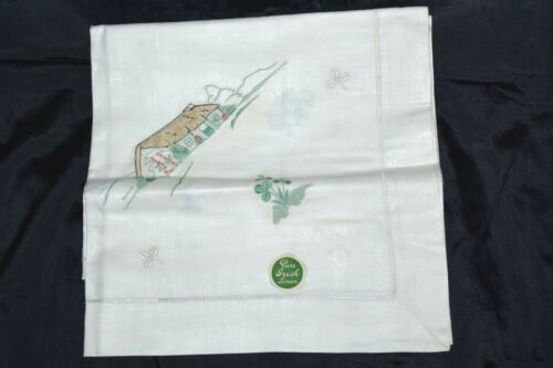 """Vintage Irish Linen Embroidered Tablecloth 36""""x 36"""" White Off Ivory NEW"""