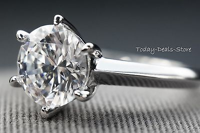 4 CARAT ROUND CUT SOLITAIRE ENGAGEMENT PROMISE RING REAL 14K WHITE GOLD