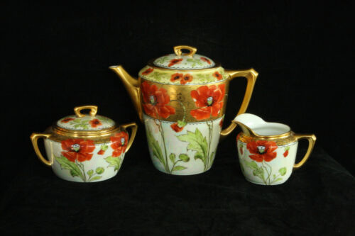 BEAUTIFUL 100% HAND PAINTED RED POPPIES STOUFFER 5 PIECE PORCELAIN TEA SET