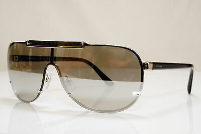 VERSACE Mens Mirror Boxed Sunglasses Black Shield SILVER 2140 1000/6G 26237