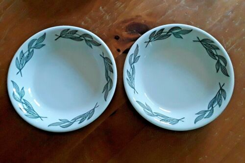Two Vintage Buffalo China Soup Bowls Plates Green Leaves Restaurant Ware 7 1/2""