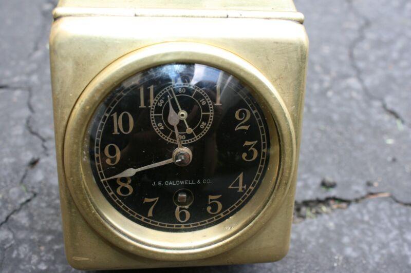 "VINTAGE J.C. Caldwell Chelsea Movement Brass Automobile  2 ¾"" Clock"