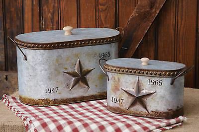 RUSTIC DECOR 2pc Vintage Tin Lidded Canisters with Embossed Star Handles Nestled