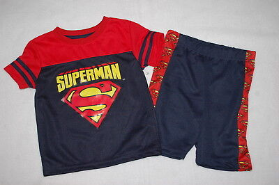 Baby Boys Outfit SUPERMAN JERSEY TEE SHIRT Mesh Net RED NAVY BLUE Shorts 24 MO](Superman Outfit Child)