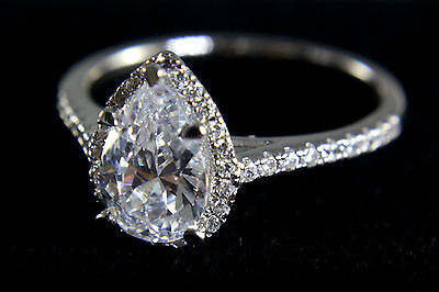 1 1/2Ct F/S1 Pear Brilliant Cut Solitaire Halo Engagement Ring 14k White Gold