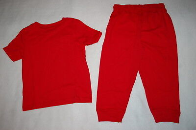 Baby Boys Outfit RED S/S TEE SHIRT w/ POCKET Knit Pants With Ribbed Cuffs 24 MO Baby Rib S/s T-shirt