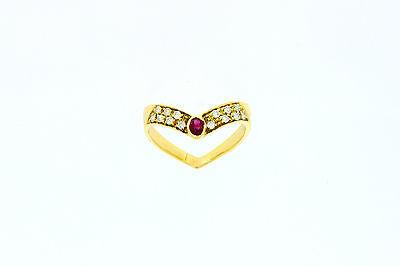 750er Gelbgold Ring mit Rubin+ Brillianten Ringgroße 57,5 Kopfbreite 5,2 mm