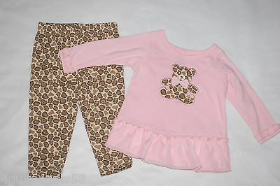 Baby Girls Outfit L/S PINK SHIRT Ruffle TEDDY BEAR Animal Spot CAMO Pants 6-9 MO - Teddy Bear Baby Outfit