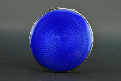 Antique Adie Bros English Sterling Silver Guilloche Enamel Compact