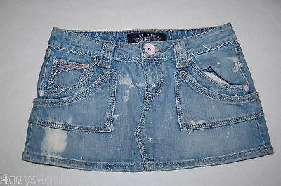 JR Womens BLUE DENIM MINI SKIRT Destroyed Bleached HINT JEANS 7 Pocket SIZE - Bleached Denim Mini Skirt