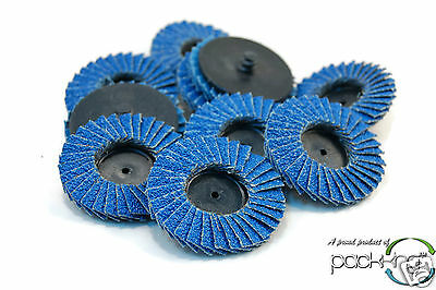 "(10pk) 2"" inch 40 Grit Flap Sanding Disc Wheels Type R Roloc Threaded Twist Lock"