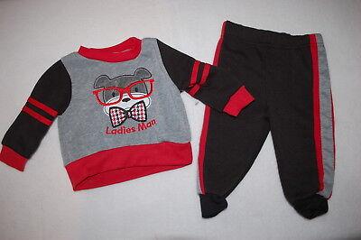 - Baby Boys RED BLACK GRAY SWEATSHIRT Dog Glasses LADIES MAN Sweat Pants 6-9 MO
