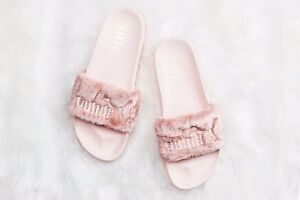 PUMA-RIHANNA-FENTY-PINK-SLIDE-FUR-SANDAL-Shell-Silver-10000-AUTHENTIC