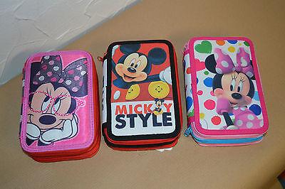 Mickey Mouse 3 Fach Etui gefüllt Federmappe Federmäppchen (Gefüllt Minnie Mouse)