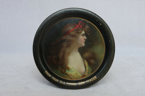 VINTAGE PORTRAIT CON YEAGER ADVERTISING TIN TIP TRAY WOMAN BEAUTY COSHOCTON OHIO