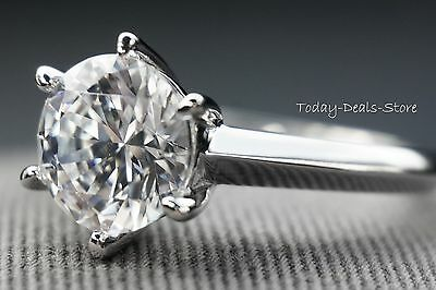 3 CARAT ROUND CUT SOLITAIRE ENGAGEMENT PROMISE RING REAL 14K WHITE GOLD PROPOSAL