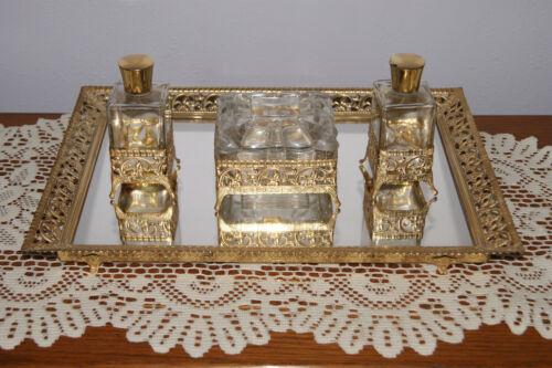 4 Piece Vintage Vanity Set - Mirror Tray - 2 Perfume Bottles - Powder Box
