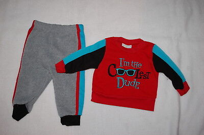 - Baby Boys SWEATSHIRT Red Turquoise I'M THE COOLEST DUDE Gray Sweat Pants 6-9 MO