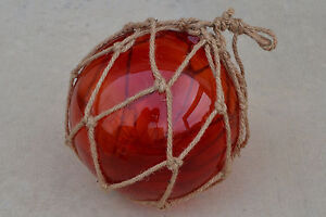 RED BLOWN GLASS FLOAT FISHING BUOY BALL WITH FISHNET 12