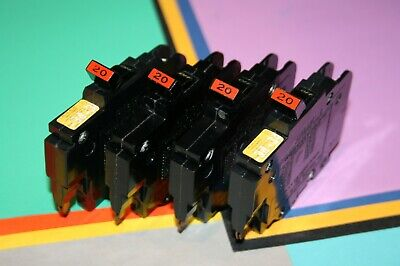 4 Federal Pacific 20 Amp 1-pole Type Nc Breakers Thin 120 Volt