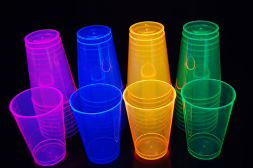 Assorted Neon Blacklight Reactive 12oz Party Cups 40ct