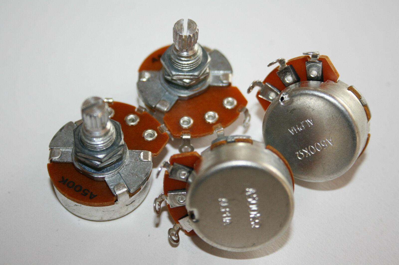 4 x Alpha Poti Potentiometer 500 Kohm B Lin kurz für Strat  großes Gehäuse 22 mm