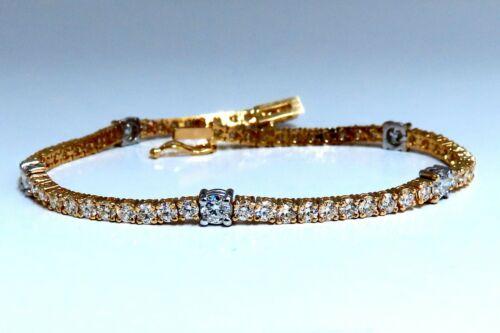 4.51ct Natural Diamonds Tennis Bracelet 14kt Gold Classic Station Alternate