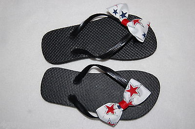 Womens BLACK FLIP FLOPS Hand Decorated WHITE BOW Red Blue Stars SIZE 7-8 (Decorated Flip Flops)