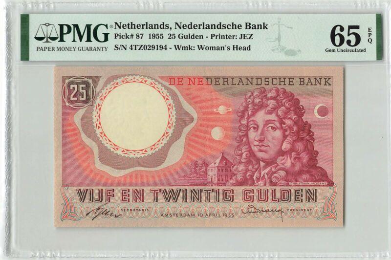 Netherlands 25 Gulden 1955 C. Huygens Pick 87 PMG Gem Uncirculated 65 EPQ