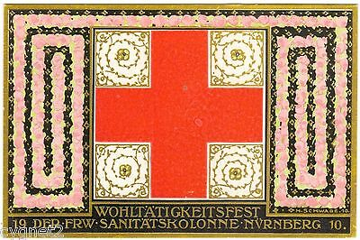 POSTCARD GERMAN 1910 CHARITY FESTIVAL FOR MILITARY FIRST AID NUREMBERG