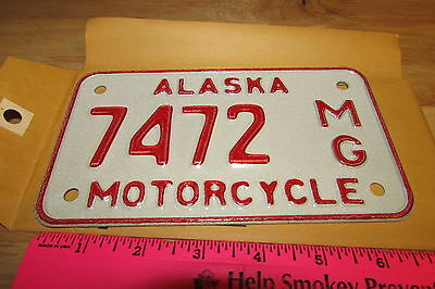 Alaska Motorcycle License Plate numbered 7472, NEW and Unused, expired in 1976