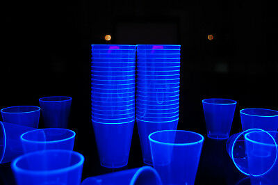 2Oz 50 Count Neon Blue Blacklight Reactive Plastic Shot Glasses